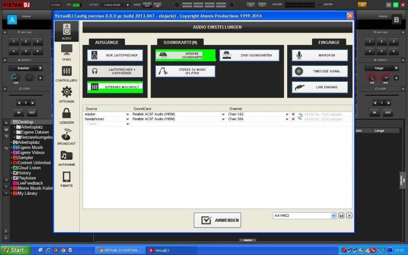 virtual dj software mixer anschlie en und in virtual dj konfigurieren. Black Bedroom Furniture Sets. Home Design Ideas